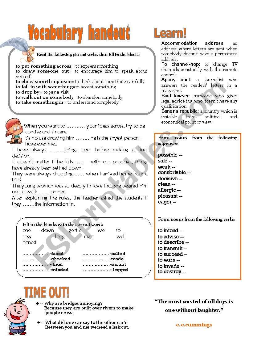 VOCABULARY HANDOUT 2 - ESL worksheet by domnitza
