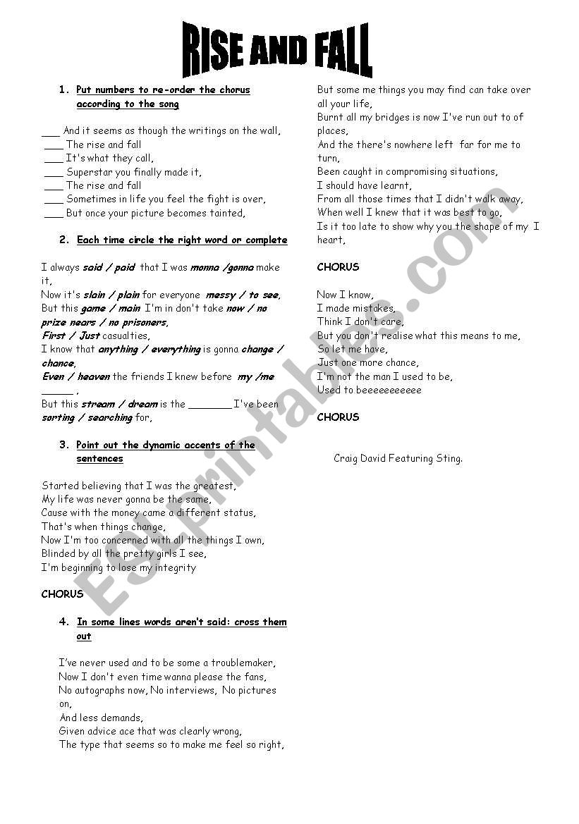 rise and fall listening activities - ESL worksheet by