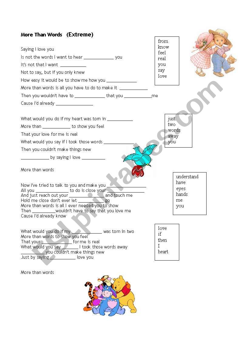 MORE THAN WORDS worksheet