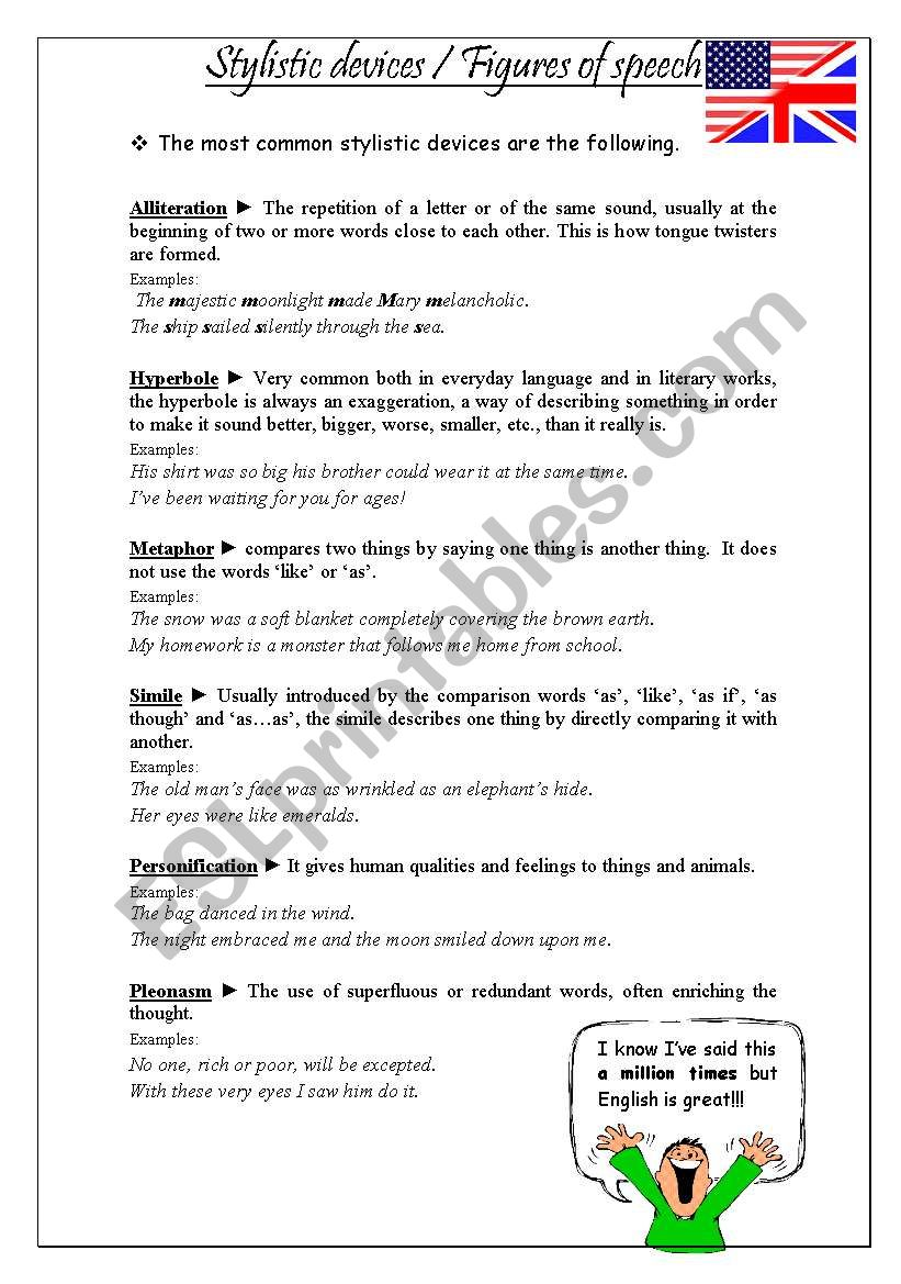Stylistic devices - ESL worksheet by veraviana