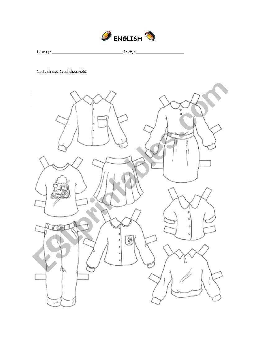 Dress the dolls (2 of 2) worksheet