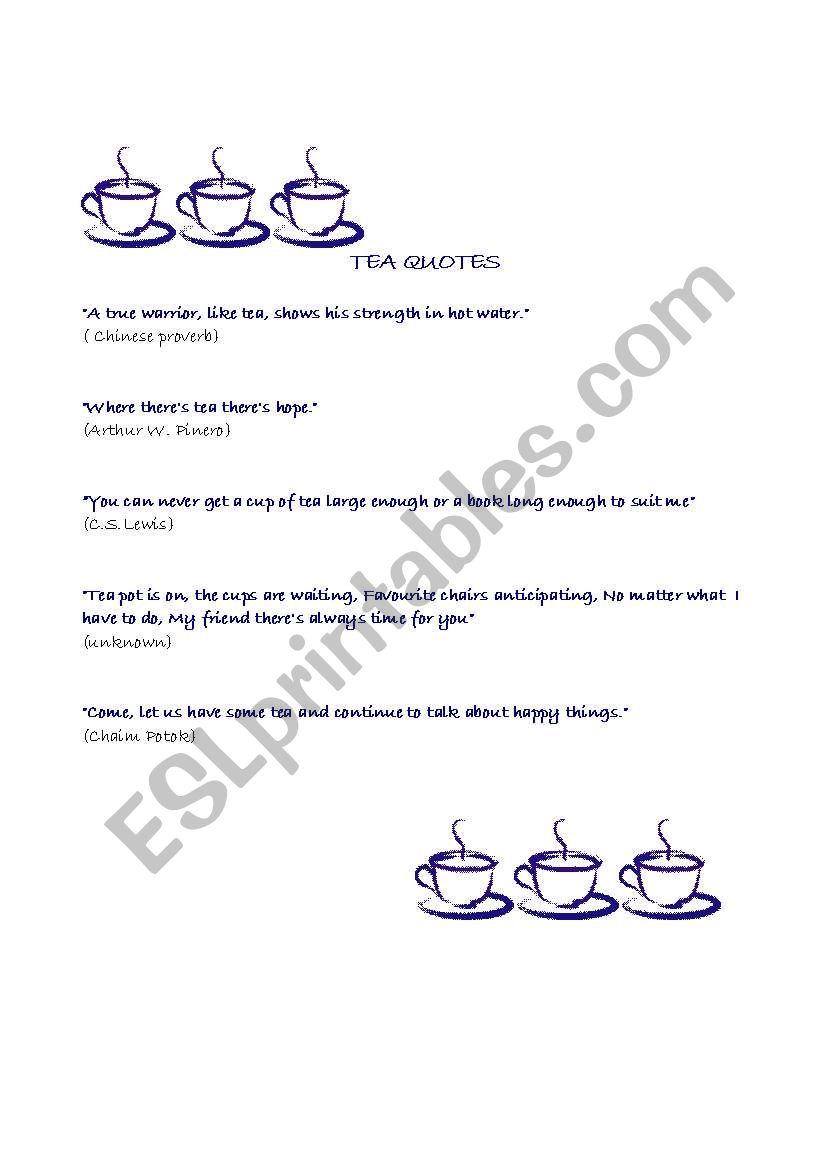 tea quotes worksheet