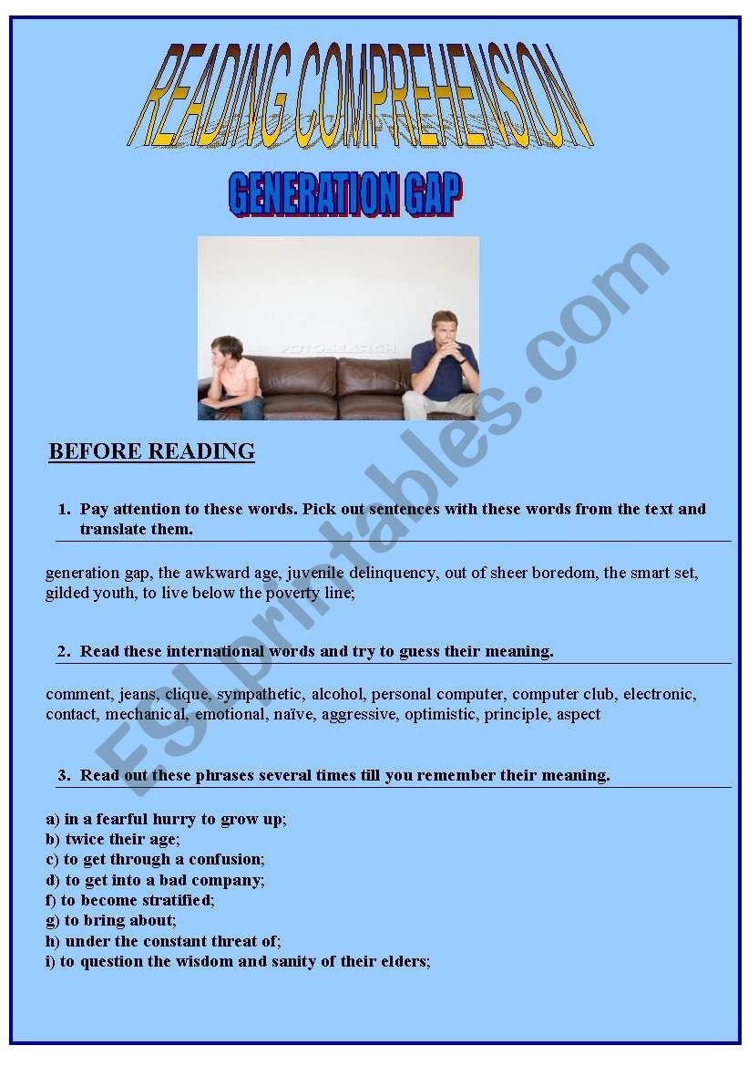 GENERATION GAP worksheet