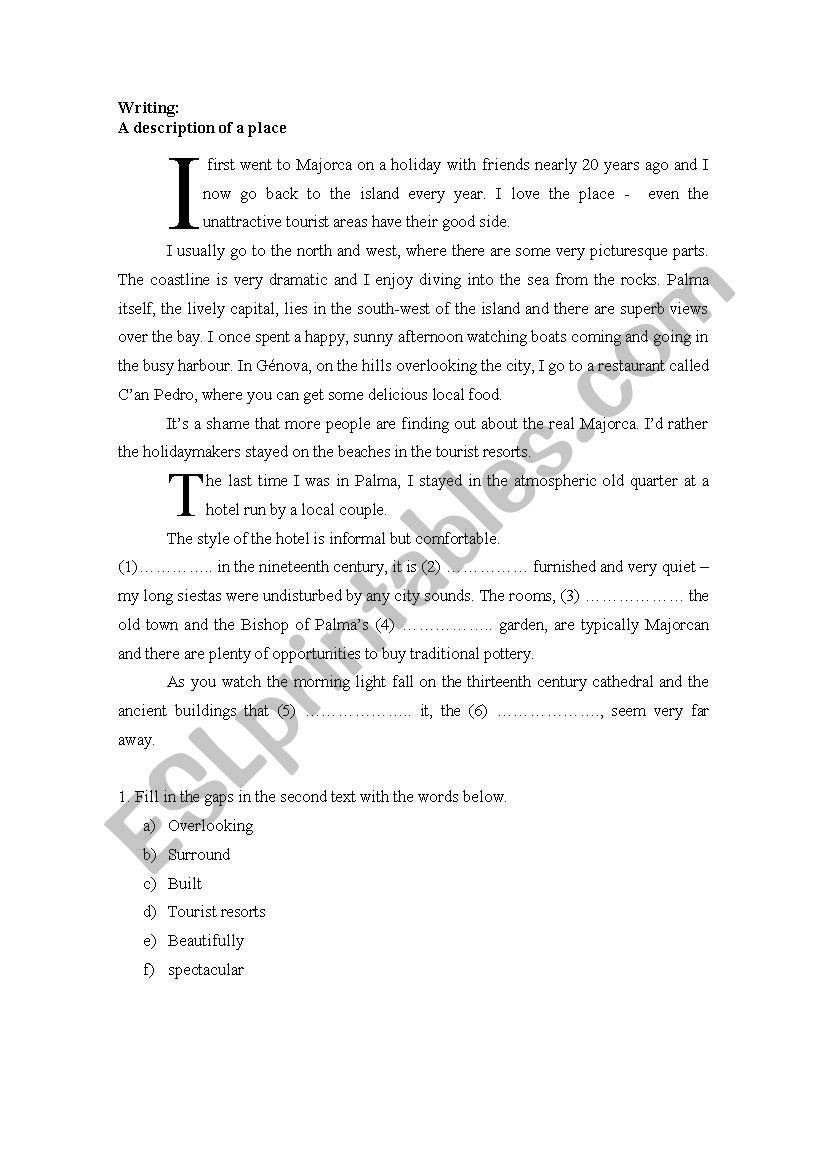 description of a place esl worksheet by aronime. Black Bedroom Furniture Sets. Home Design Ideas