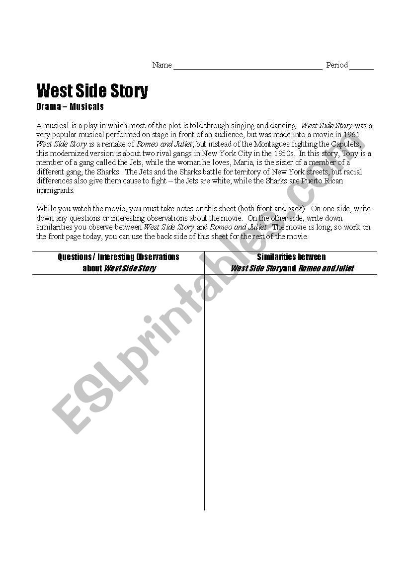 West Side Story Viewing Guide Esl Worksheet By Msexander