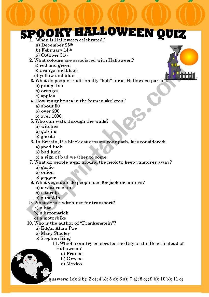 picture regarding Printable Halloween Trivia referred to as Spooky Halloween Quiz - ESL worksheet via olga1977