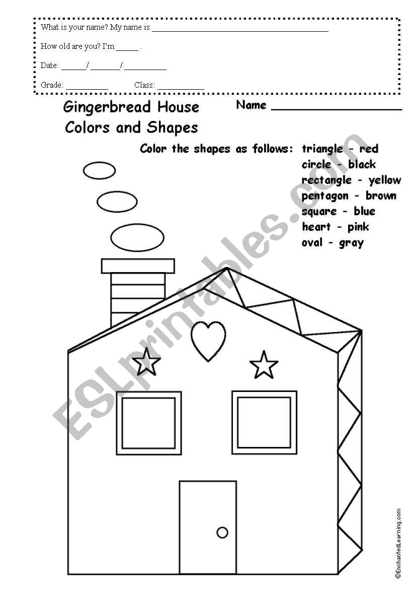 gingerbread house colours and shapes esl worksheet by luisfixe. Black Bedroom Furniture Sets. Home Design Ideas