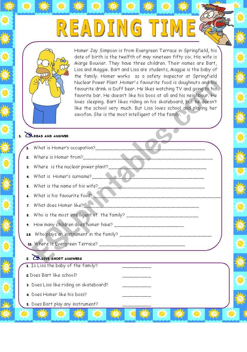 HOMER SIMPSON worksheet