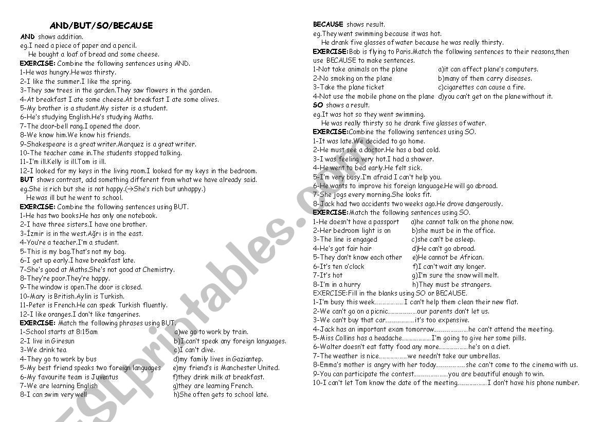 and+but+so+because - ESL worksheet by cupidio