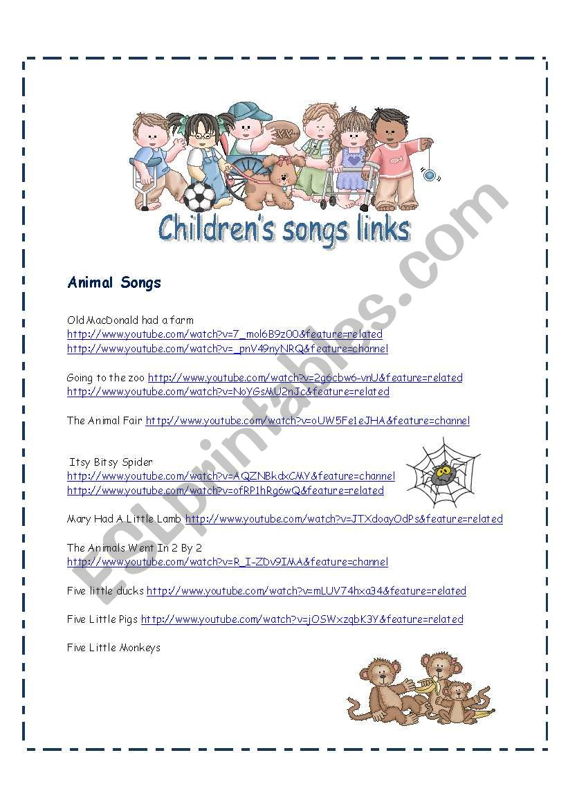 Children´s Songs Video Links worksheet