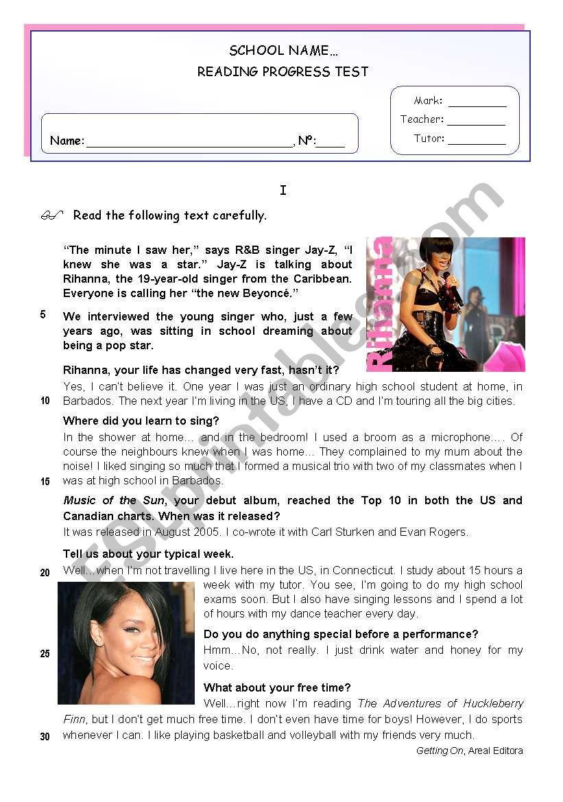 Rihanna - Reading Comprehension + Writing Test