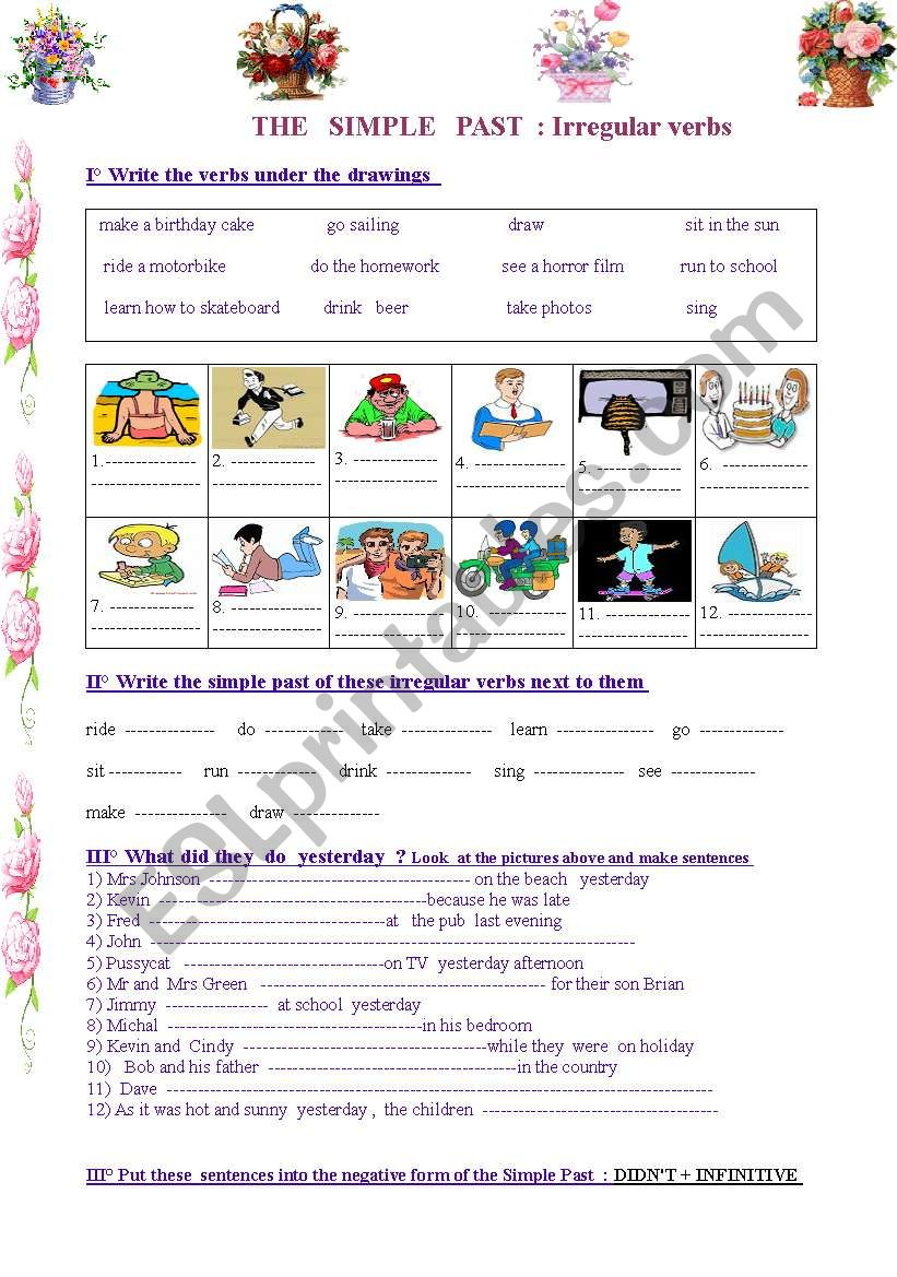 Simple Past :and  its irregular verbs
