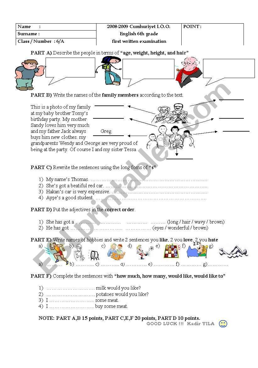super exam for 6th grade worksheet