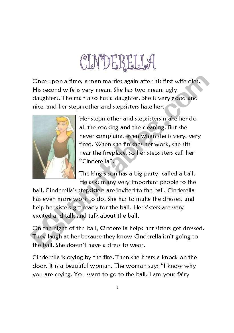 graphic relating to Cinderella Story Printable referred to as Cinderella - ESL worksheet as a result of jfarnell