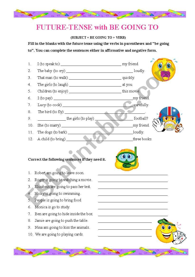 FUTURE TENSE with BE GOING TO worksheet