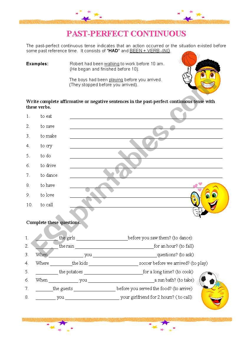 PAST PERFECT CONTINUOUS TENSE worksheet
