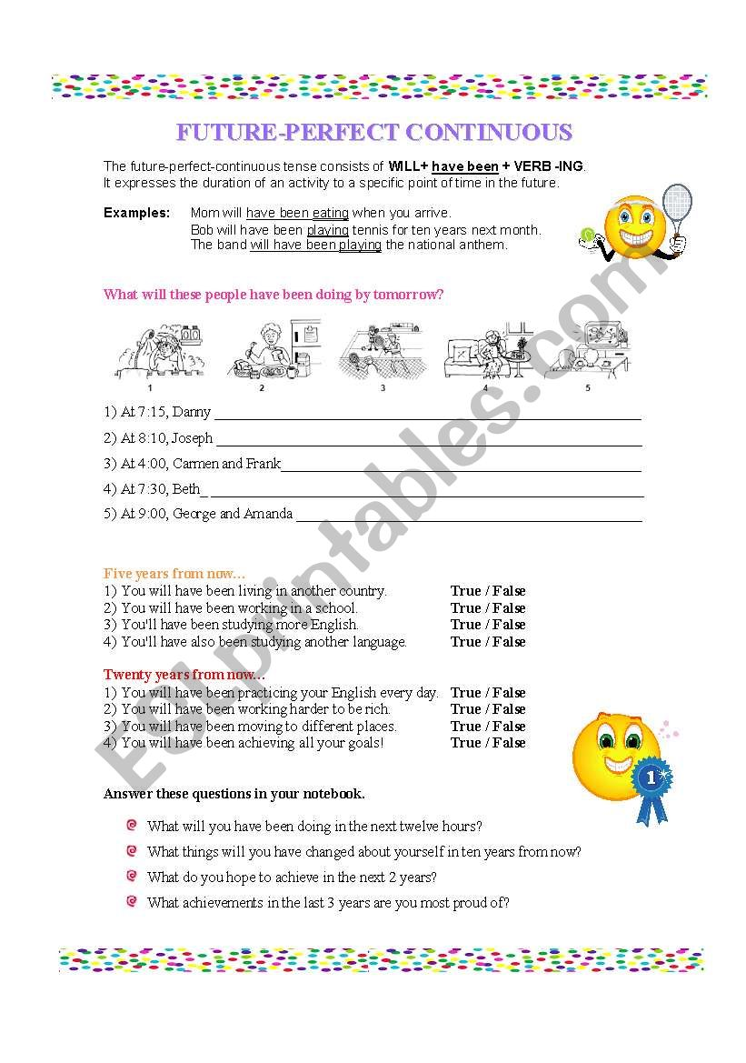 FUTURE PERFECT CONTINUOUS worksheet