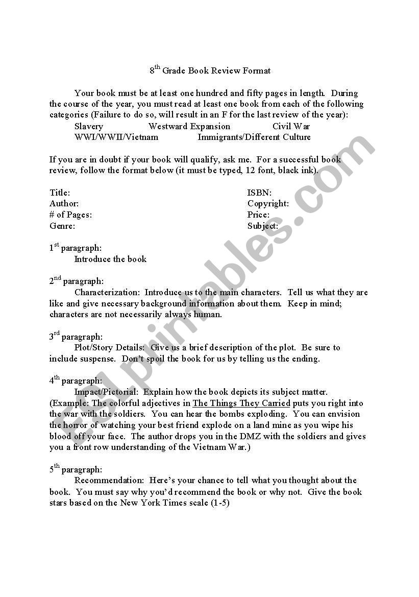 english worksheets  8th grade book review format