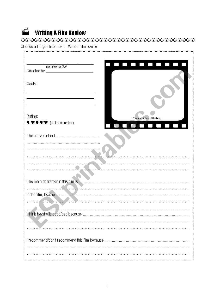 Writing A Film Review Esl Worksheet By Miss W