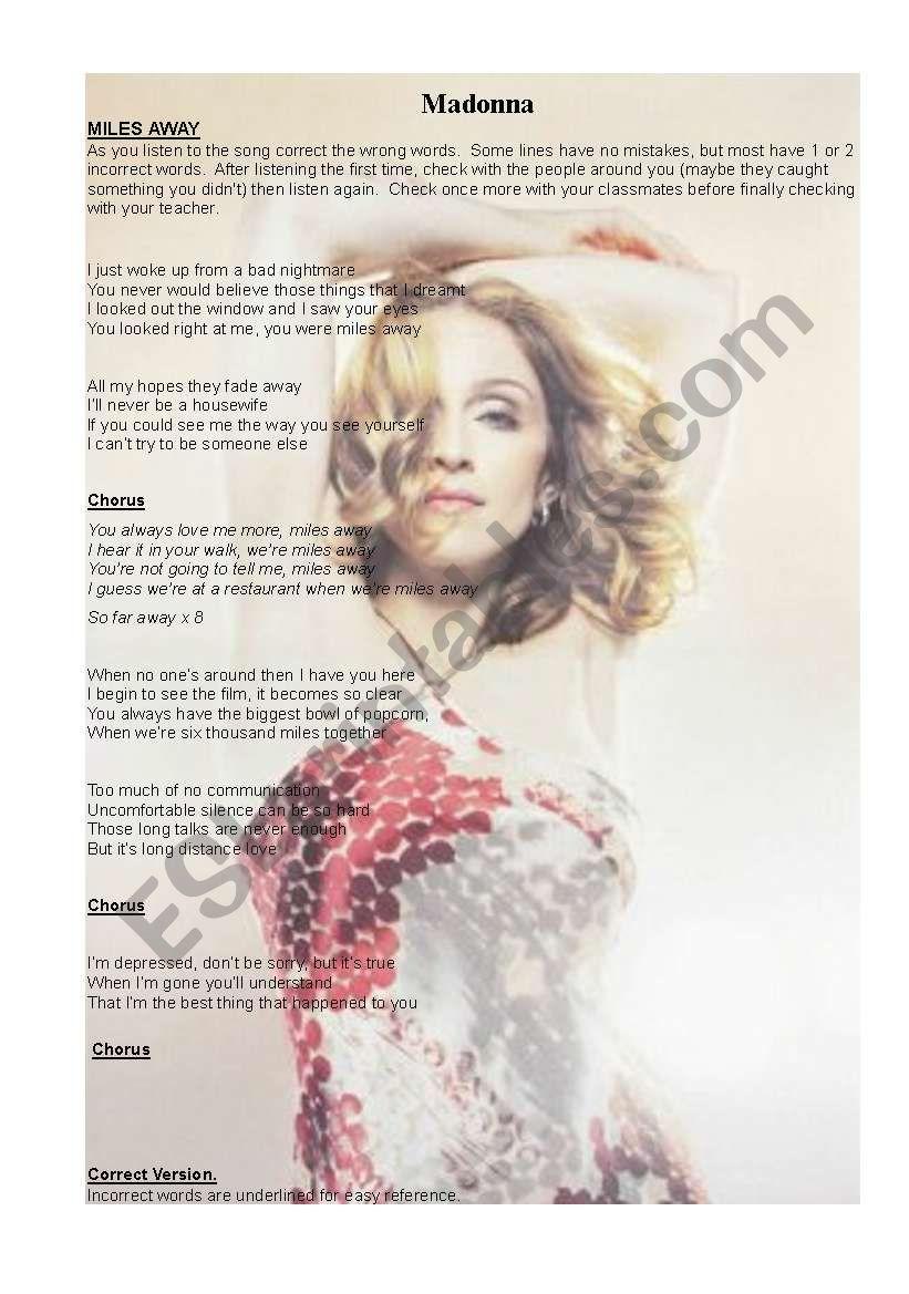 Madonna- Miles Away worksheet