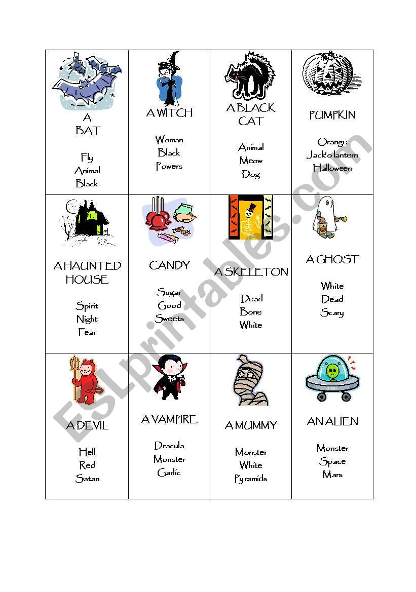 photo relating to Printable Taboo Cards referred to as Halloween Taboo - ESL worksheet as a result of froggie