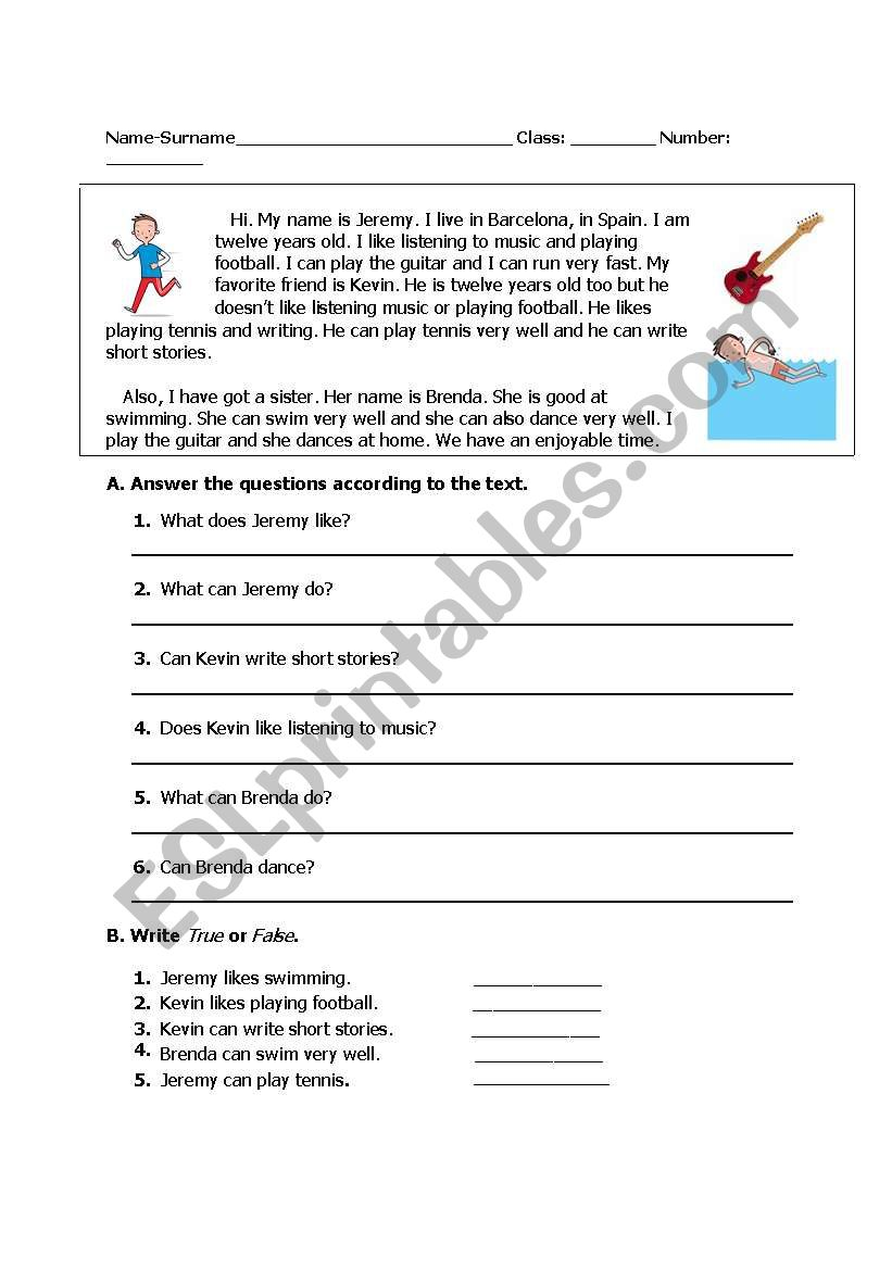 - Reading Text About Abilities - ESL Worksheet By Gamse
