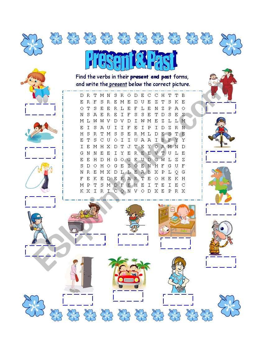 Present & Past Wordsearch worksheet