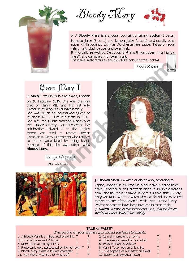 Bloody Mary worksheet