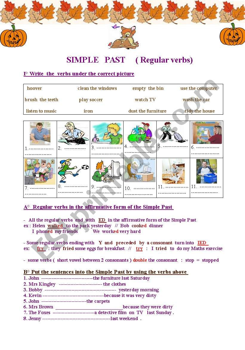 Simple Past Of Regular Verbs Easy Colourful And Very Useful