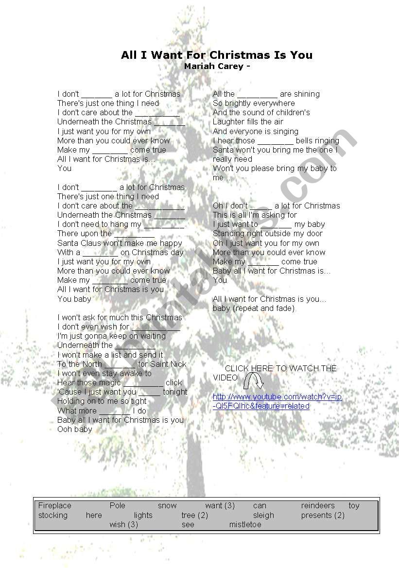 ALL I WANT FOR CHRISTMAS IS YOU - ESL worksheet by silvia367
