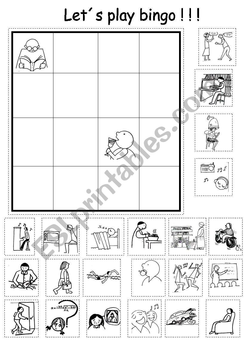 Lets Play Bingo!!!! (with verbs vocabulary)
