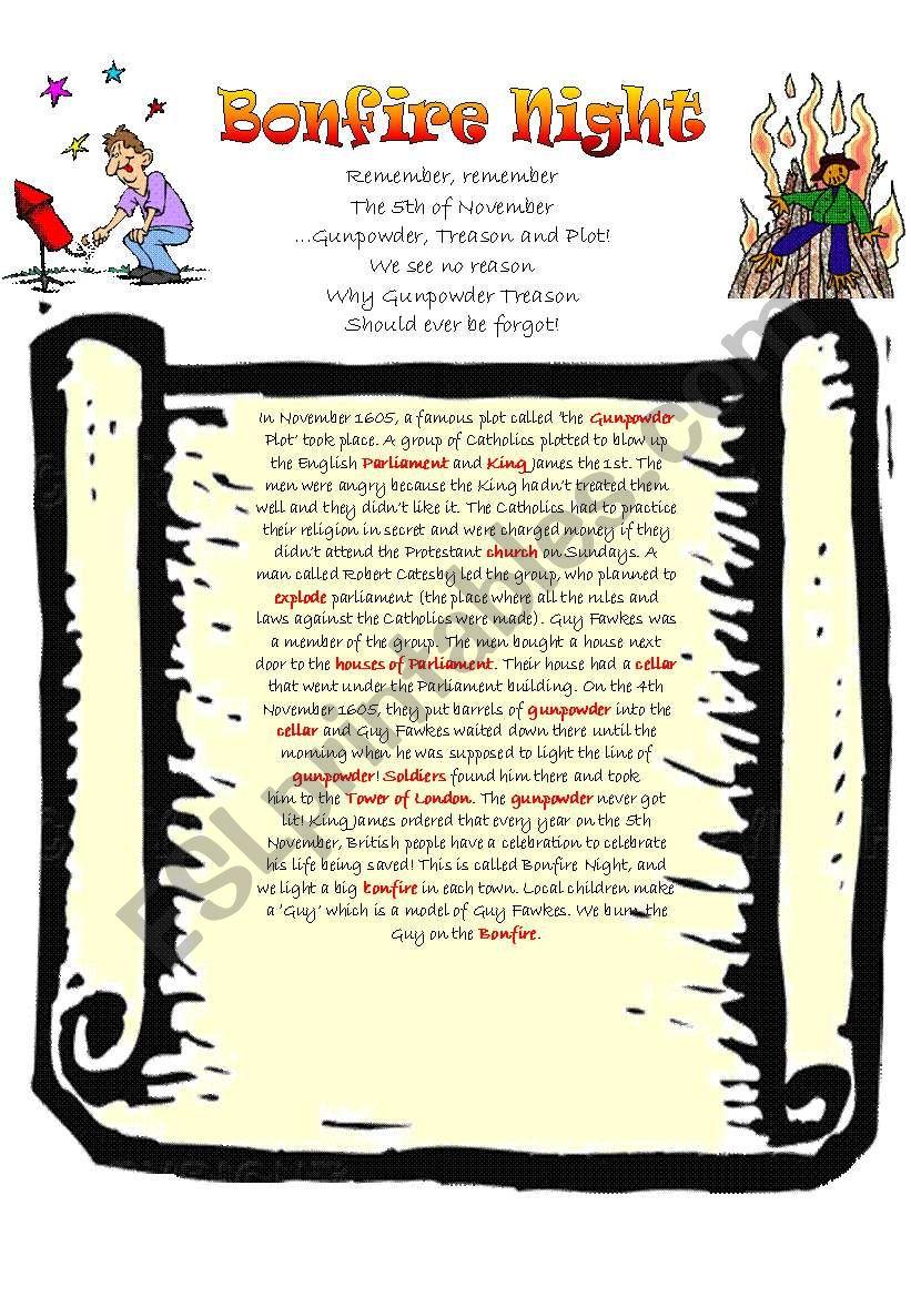 Guy Fawkes and Bonfire Night 4 Skills