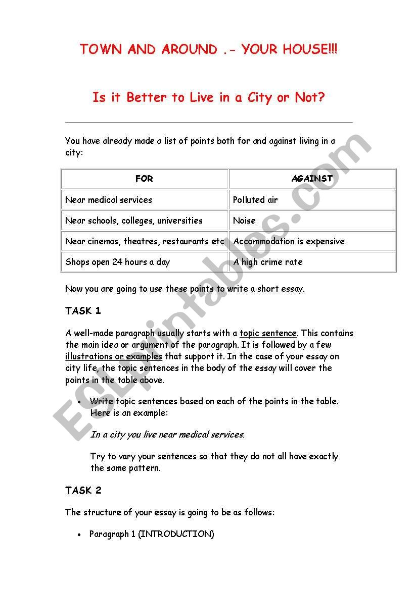 Town and around worksheet