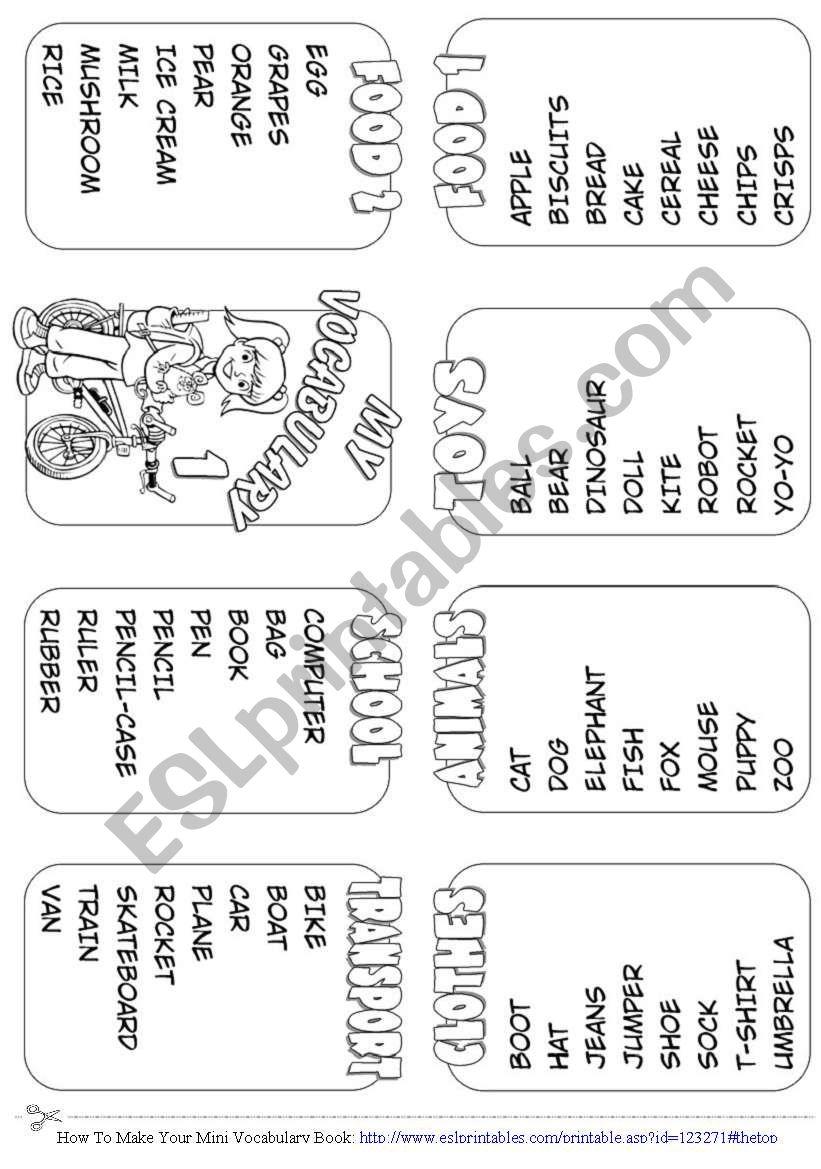Make Your Mini Vocabulary worksheet