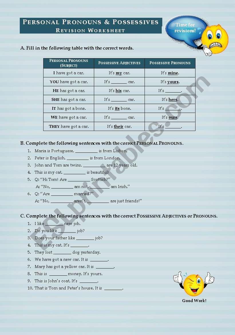 Personal Pronouns & Possessive Adjectives/Pronouns - Revision Worksheet