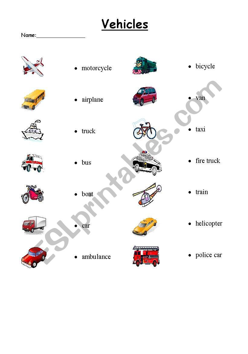 vehicle matching esl worksheet by teach4thesky. Black Bedroom Furniture Sets. Home Design Ideas