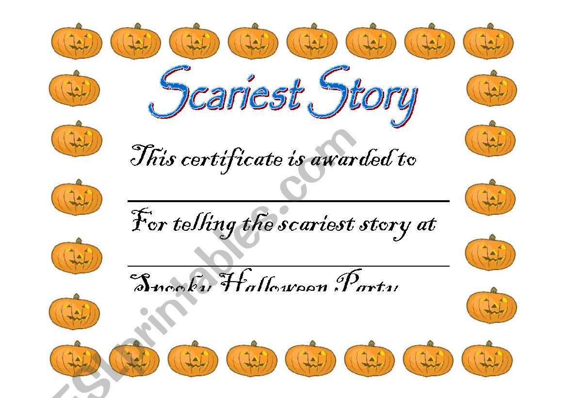 Halloween Award Certificate 1 worksheet