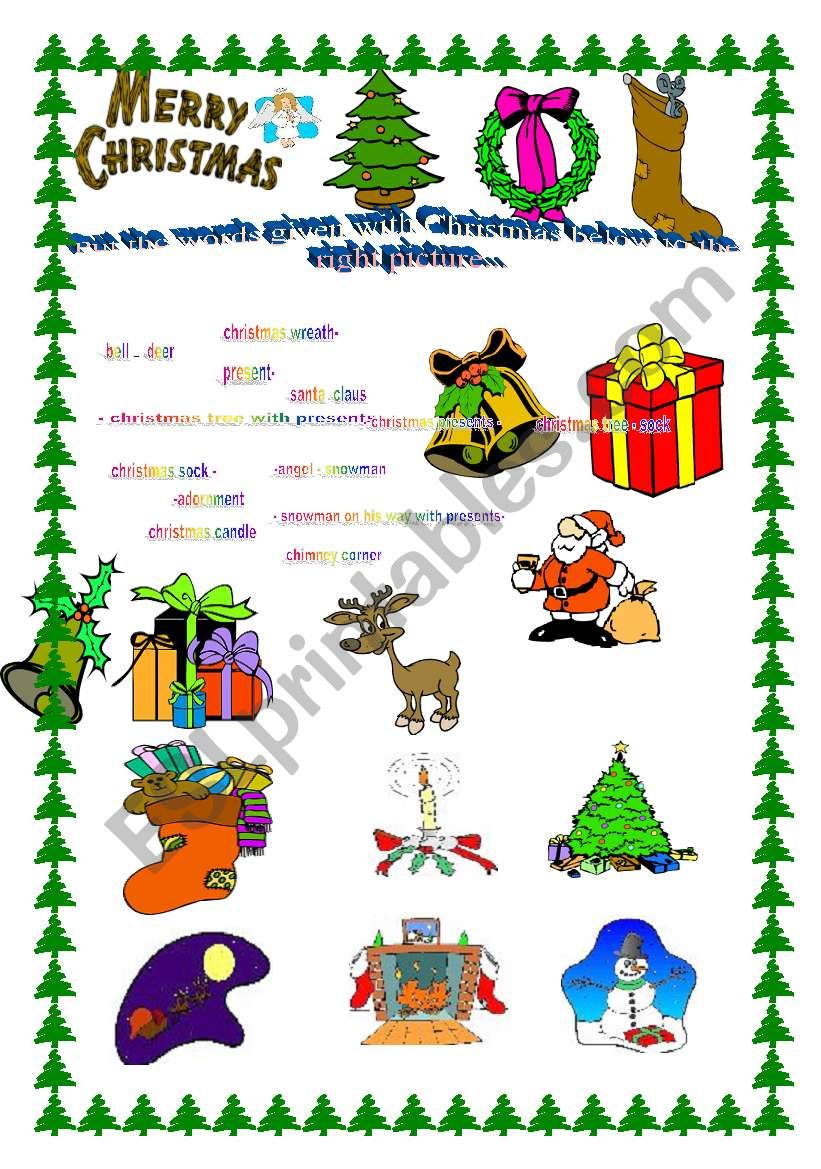 colourful chriastmas vocabulary matching