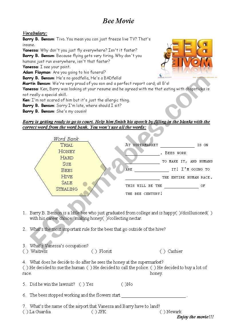Bee Movie worksheet