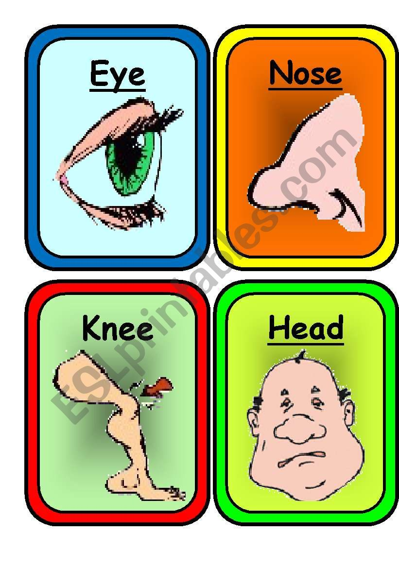 22 COLORFUL FLASHCARDS on  BODY and FACE- Ready to print and use in class !!!