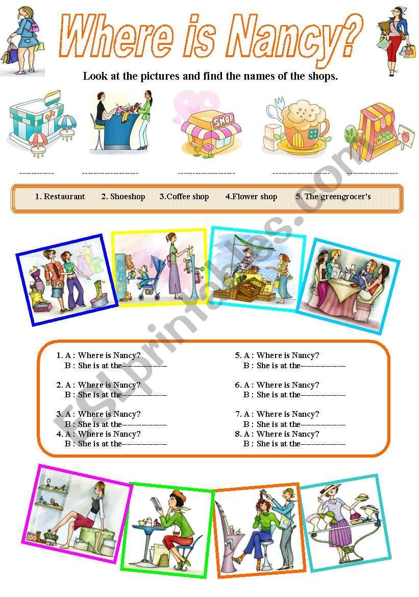 Shops  :Where is Nancy? worksheet