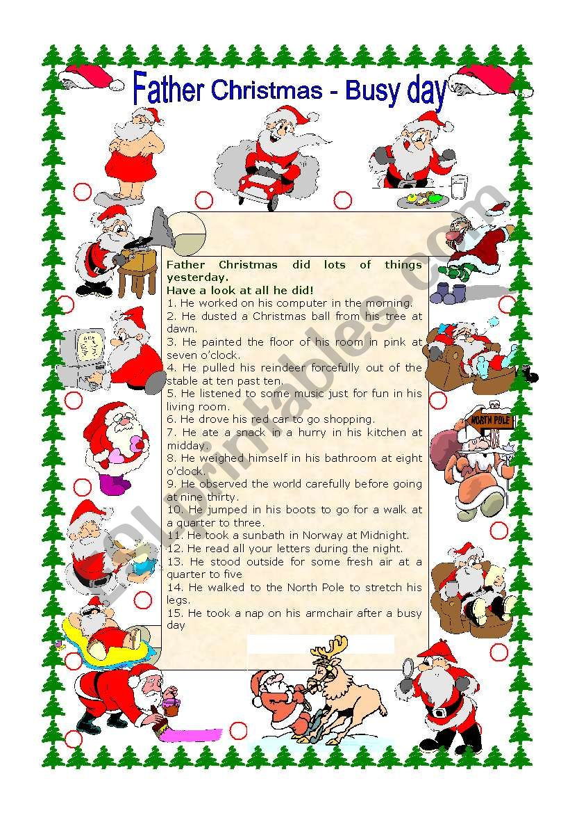 Father Christmas - Busy Day worksheet