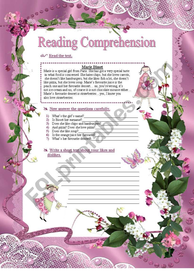 Reading Comprehension - likes and dislikes