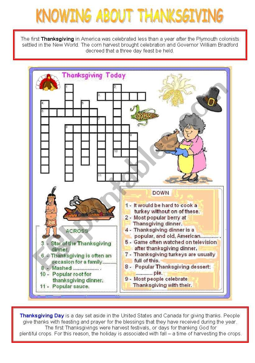 Knowing about Thanksgiving - activity 1