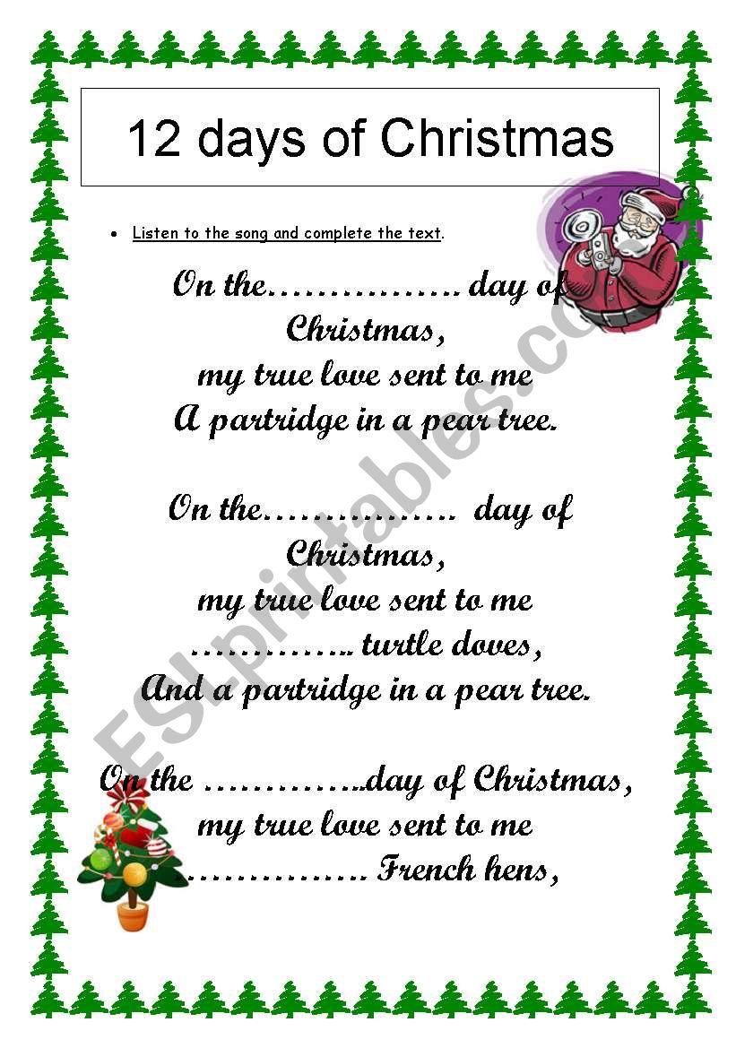 12 days of Christmas : numbers revision (song) - ESL worksheet by s4nchez007