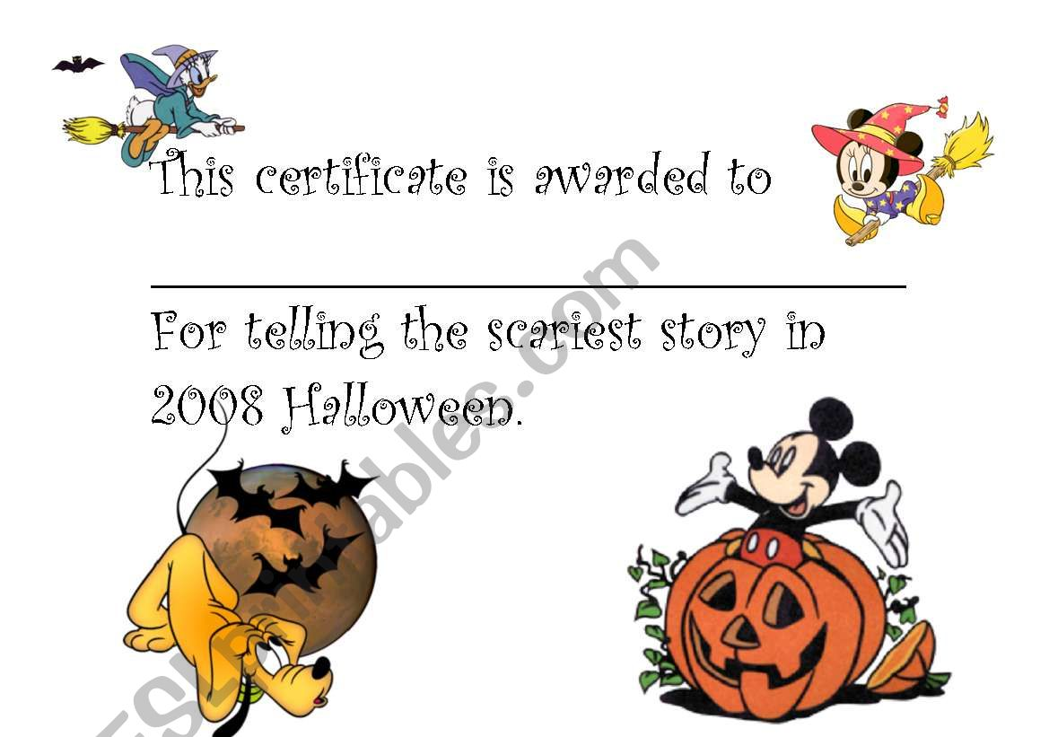 Halloween Award Certificate 3 worksheet