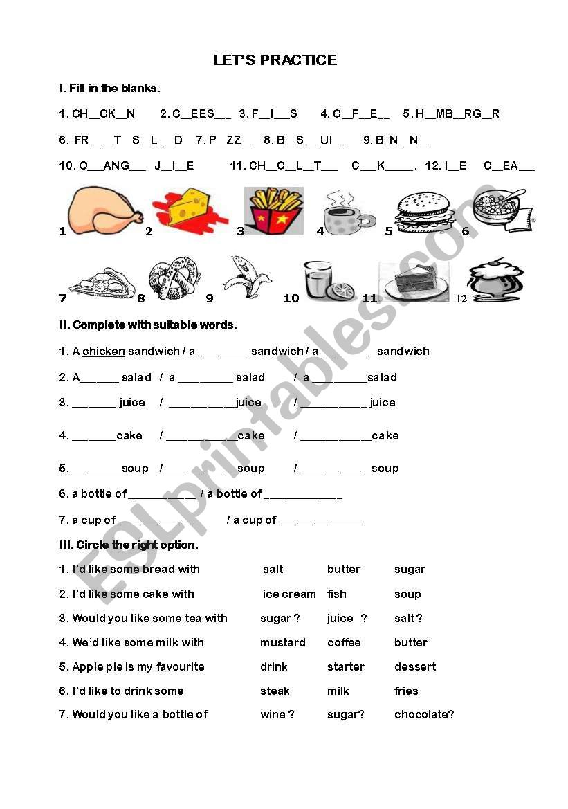 What would you like ? worksheet