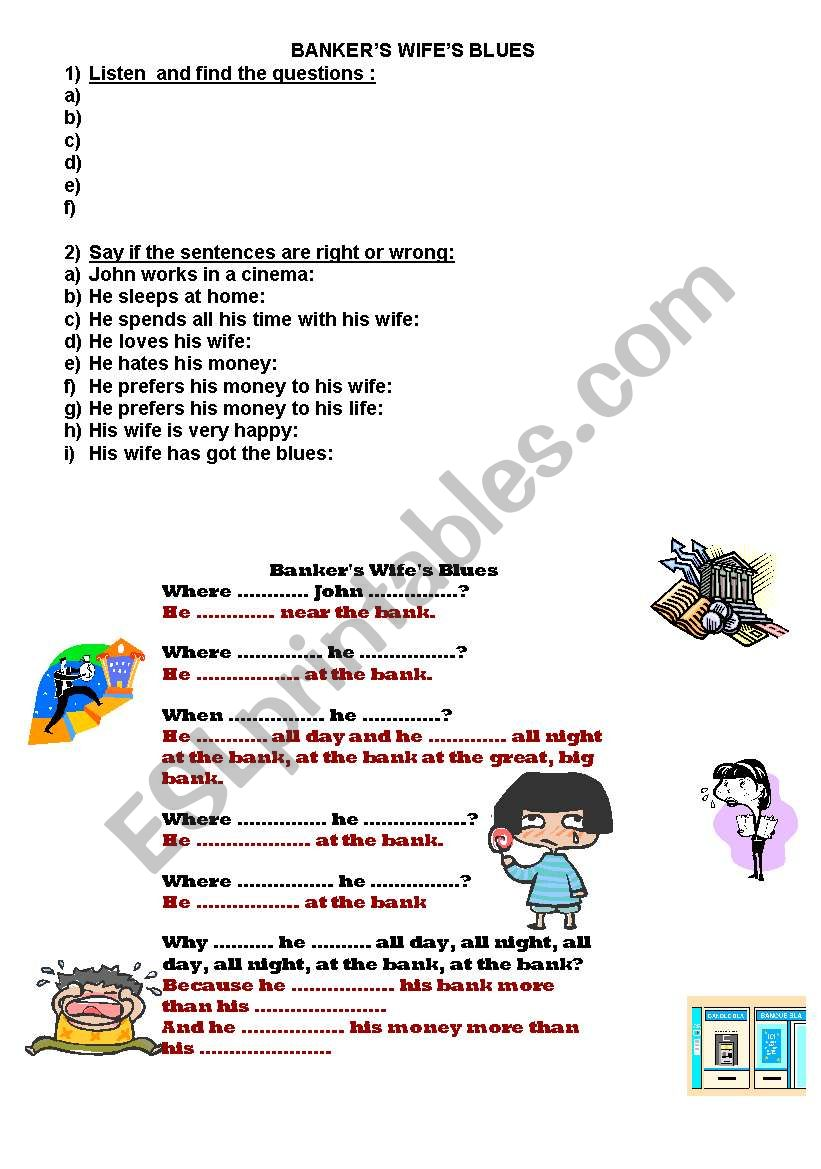 BANKER´S WIFE´S BLUES worksheet