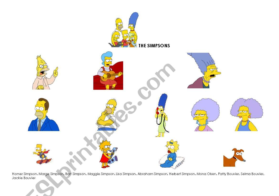 The Simpsons worksheet