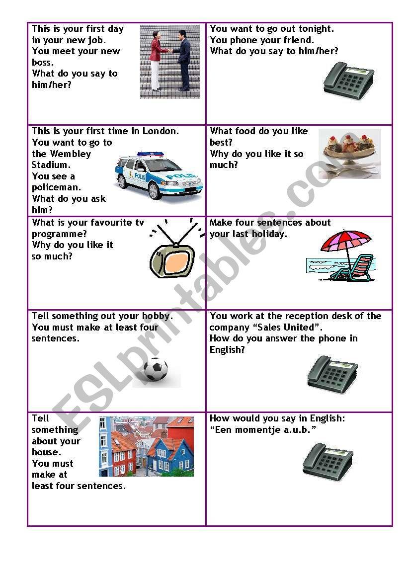 Conversation cards level A1 business 1/5